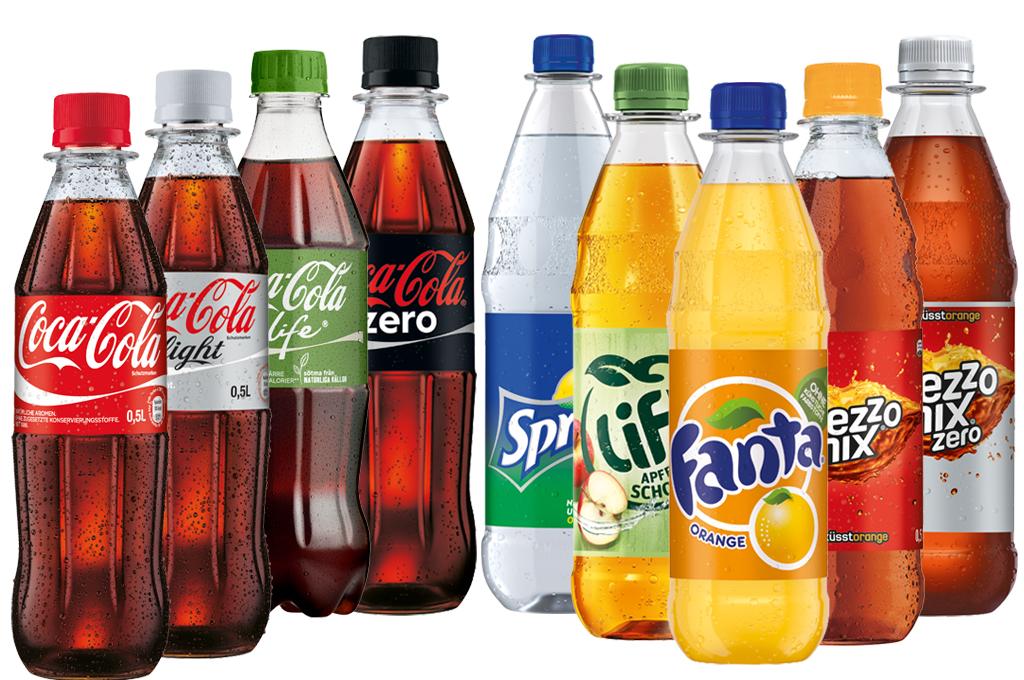Coca Cola, Coca Cola Light, Coca Cola Zero, Sprite, Fanta, Mezzo Mix 0,33l Flasche (1,2,3)